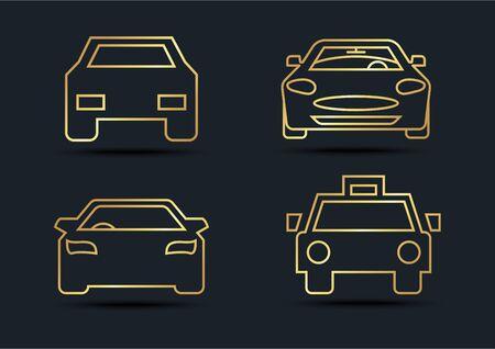 Car front sets,transportation,Gold color,vector illustrations Ilustracja