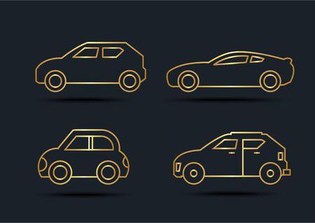 Car side view sets,transportation,Gold color,vector illustrations
