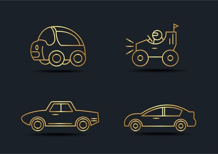 Abstract background of Car side view sets,transportation,Gold color,vector illustrations