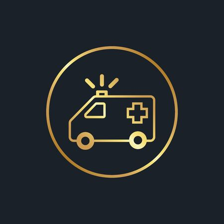 flat icons for Emergency Ambulance,Gold color,vector illustrations Ilustracja