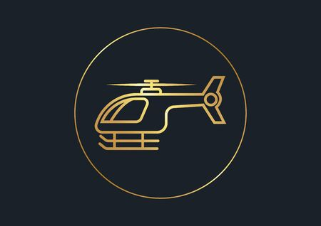 flat icons for Helicopter,Gold color,vector illustrations Ilustracja