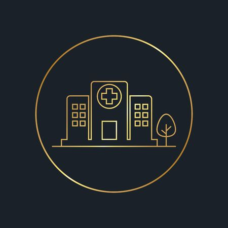 flat icons for Hospital buildings,Gold color,vector illustrations Ilustracja