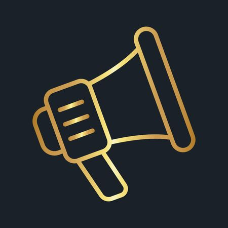 flat icons for Megaphone,Gold color,vector illustrations