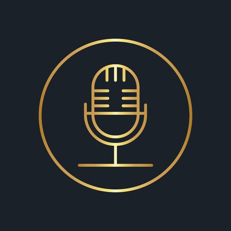 flat icons for Microphone,Gold color,vector illstrations Ilustracja