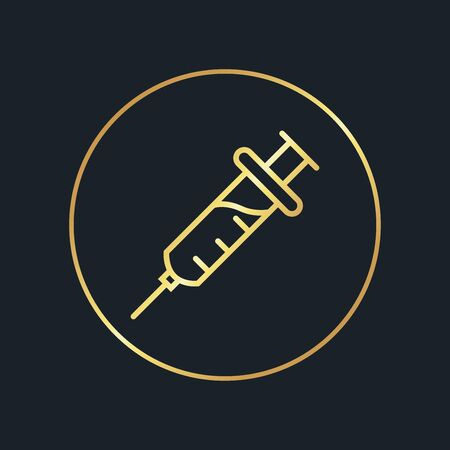 flat icons for Syringe,Gold color,vector illustrations