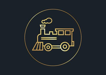 flat icons for Train,Gold color,vector illustrations