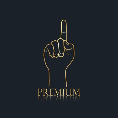 logo hand, number 1, finger, gold color, premium, vector illustrations