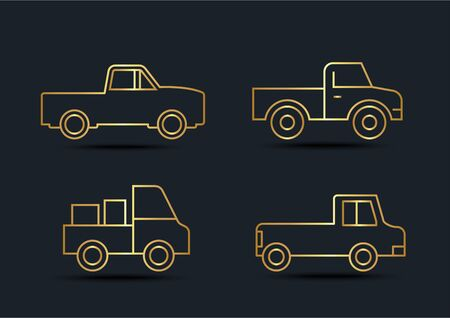 Abstract background of Pickup truck sets, transportation, Gold color, vector illustrations