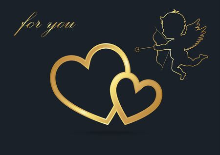 valentine background,Cupid silhouette,heart,gold color,vector illustrations