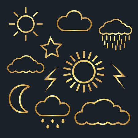 weather icons for cloud,moon,sun,rain,thunder,star,gold color,vector illustrations