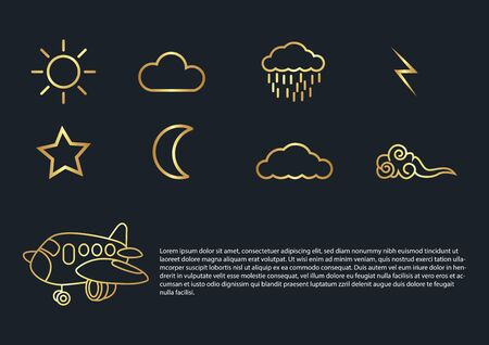 abstract background,Airplane,clouds,moon,sun,rain,thunder,star,gold color.vector illustrations Ilustracja