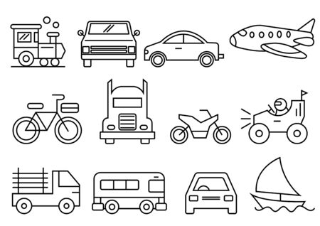 thin line icons set,transportation,Airplane,Car,Truck,Bus,Train,Bicycle,Car front,Motorcycle,Pickup truck,Boat,vector illustrations Zdjęcie Seryjne - 149342350