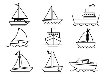 thin line icons set,transportation,Boat,vector illustrations