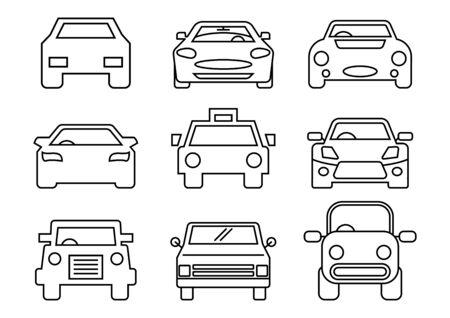 thin line icons set,transportation,Car front,vector illustrations Ilustracja