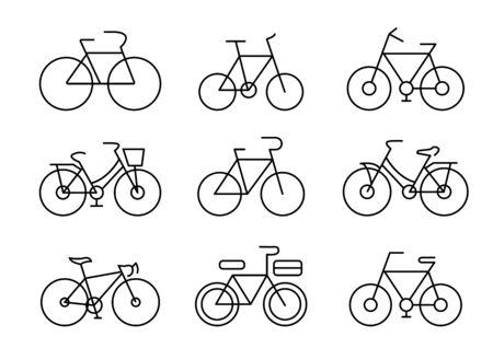 thin line icons set,transportation,Bicycle,vector illustrations Ilustracja