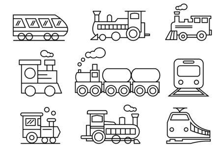 thin line icons set,transportation,Train,vector illustrations