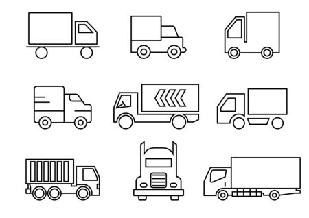 thin line icons set,transportation,Truck,vector illustrations
