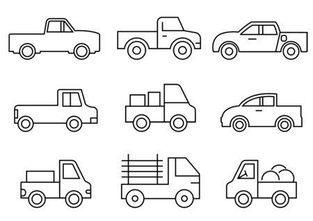 thin line icons set,transportation,Pickup truck,vector illustrations Ilustracja