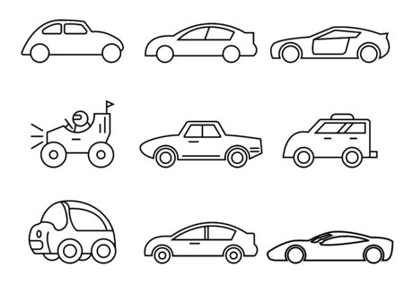 thin line icons set,transportation,Car side view,vector illustrations Ilustracja