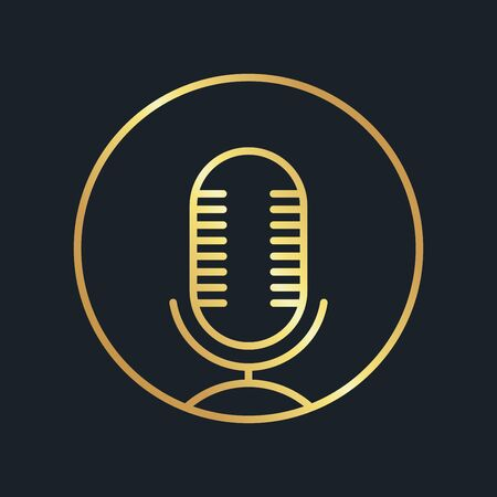 flat icons for Microphone,Gold color,vector illustrations Ilustracja