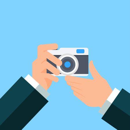 Hand Holding Photo Camera Photography Flat Design,Vector Illustration Ilustracja