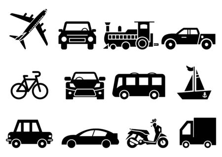 solid icons set, transportation, Airplane, Car, Truck, Bus, Train, Bicycle,Car front,Motorcycle, Pickup truck, Boat, vector illustrations Ilustracja