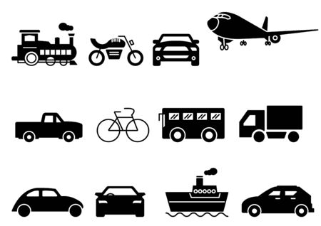 solid icons set, transportation, Airplane, Car, Truck, Bus, Train, Bicycle,Car front,Motorcycle,Pickup truck,Boat,vector illustrations Zdjęcie Seryjne - 149341664