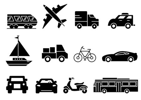 solid icons set, transportation, Airplane, Car, Truck, Bus, Train, Bicycle,Car front,Motorcycle,Pickup truck,Boat,vector illustrations Ilustracja