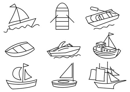 thin line icons set,transportation,Boat,vector illustrations Zdjęcie Seryjne - 149341786
