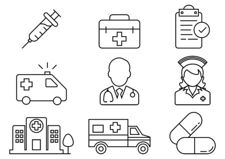 thin line icons for Doctor, Nurse, Hospital buildings, Stethoscope, Emergency Ambulance, Pills, Medical history, Syringe, First aid kit, vector illustrations