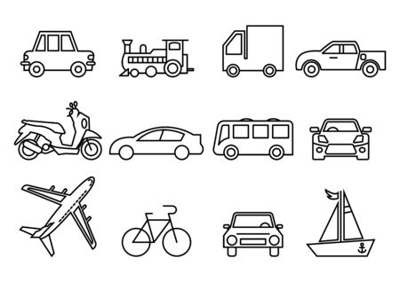 thin line icons set,transportation,Airplane,Car,Truck,Bus,Train,Bicycle,Car front,Motorcycle,Pickup truck,Boat,vector illustrations Zdjęcie Seryjne - 149341804