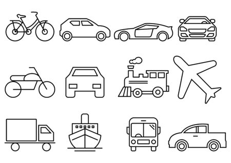 thin line icons set,transportation,Airplane,Car,Truck,Bus,Train,Bicycle,Car front,Motorcycle,Pickup truck,Boat,vector illustrations Ilustracja