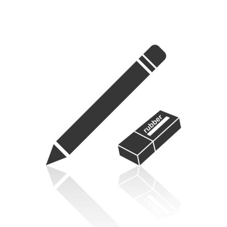 Solid icons for pencil and rubber,vector illustrations