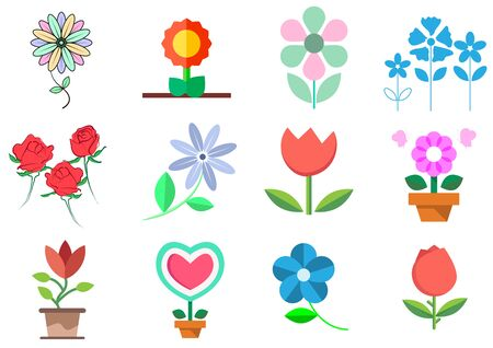 flat icons for flowers,vector illustrations