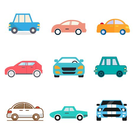 flat icons for Car side view and car front,transportation,vector illustrations