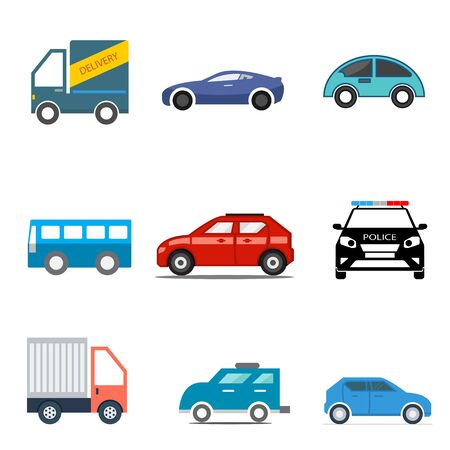 flat icons set,transportation,Car side view,Truck,Bus,Police car,vector illustrations