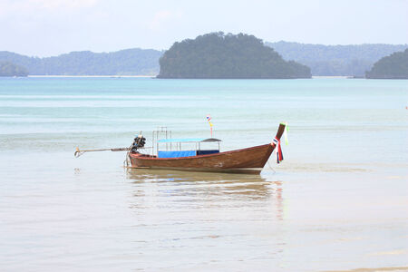 phra nang: Long-tailed boat on the beat-Krabi