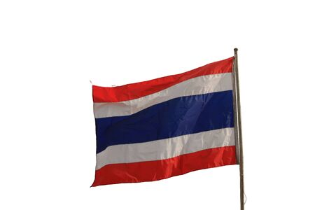 drapeau thailande: Thailand flag waving,isolated Banque d'images