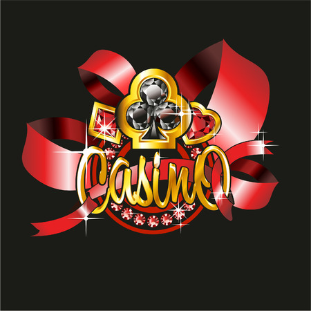 ace of club: casino label with golden elements and ribbons