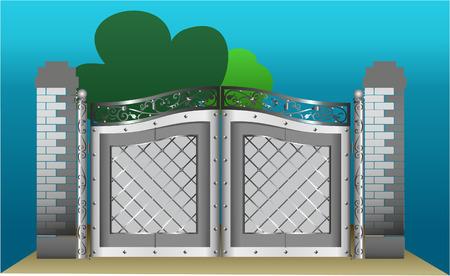 puertas de hierro: puertas de hierro en el fondo blue-sky  Vectores