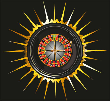 jackpot: casino roulette en fond noir brillant Illustration