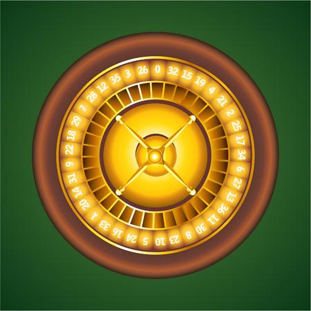 lasvegas: golden casino roulette in green background