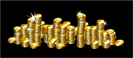 golden coins: golden coins in black background Illustration