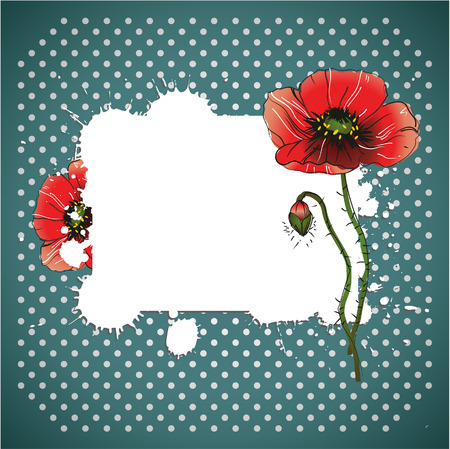 red poppy flowers in vintage background Vector