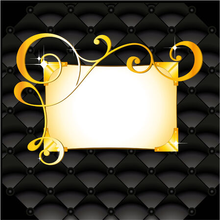 beautiful golden pattern in black leather background Vector