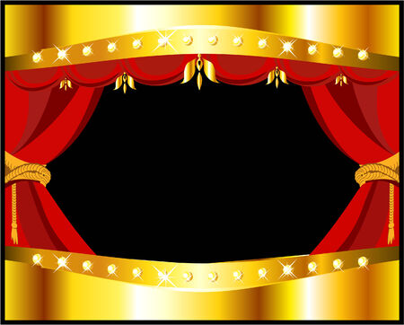 stage with red textile curtain Vector