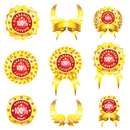 set of golden badges isolated on white background Vector