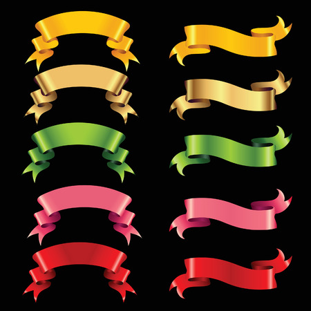 pink ribbons: set of colour ribbons isolated on black