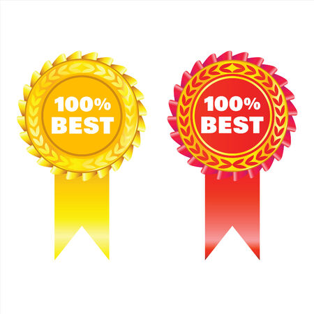 golden and red badges with ribbon isolated on white Stock Vector - 7948134