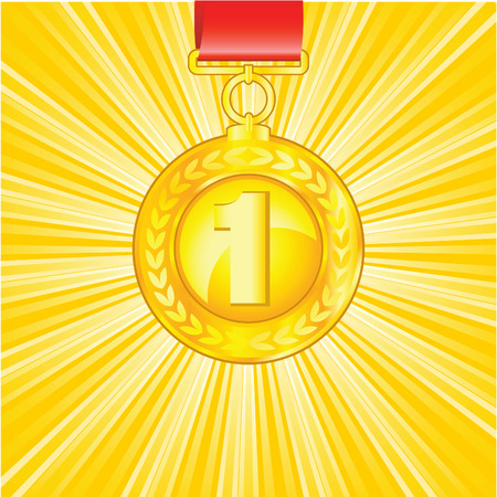 The golden medal on shiny beautiful background Vector